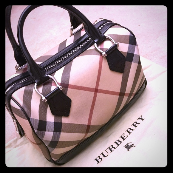 1d2356087b2e Burberry Handbags - BURBERRY SUPERNOVA CHECK BLACK LEATHER HANDBAG